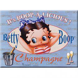 Plaque Métal Betty Boop Champagne Bleue 30x40 cm