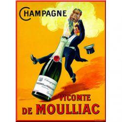 Plaque Métal Champagne Vicomte de Moulliac 30x40 cm