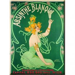 Plaque Métal Absinthe Blanqui 30x40 cm