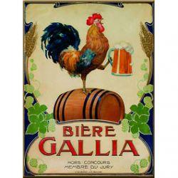 Plaque Métal Bière Gallia 30x40 cm