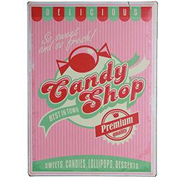 Plaque Métal Bonbons Candy Shop 30x40 cm