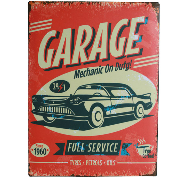 plaque m tal d corative vintage garage. Black Bedroom Furniture Sets. Home Design Ideas