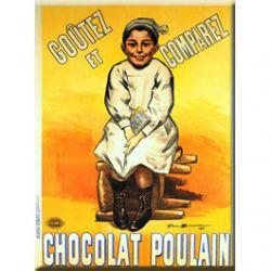 Plaque Métal Chocolat Poulain Goûtez Comparez 30x40 cm