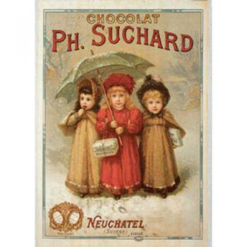 Plaque Métal Chocolat Suchard 3 enfants 30x40 cm