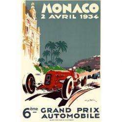 Plaque Métal Grand Prix de Monaco 30x40 cm