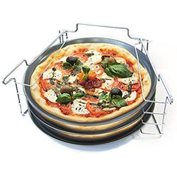 3 Plaques à Pizza Antiadhésif avec Support