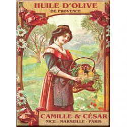 Plaque Métal Huile d'Olive de Provence 30x40 cm