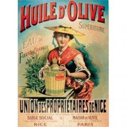Plaque Métal Huile d'Olive de Nice Chapeau 30x40 cm