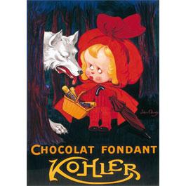 Plaque Métal Chocolat Kohler Loup 30x40 cm