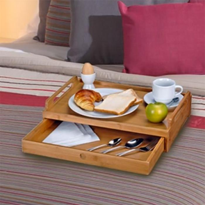 Plateau bambou avec tiroir pour repas tv ou petit d jeuner - Plateau petit dejeuner lit ...