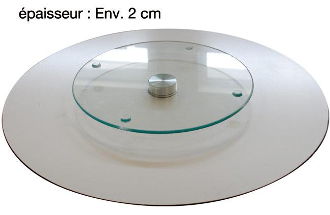 Plateau tournant en verre design disque vinyle - Plateau tournant pour placard ...