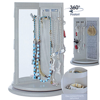 porte bijoux avec trois compartiments boite bijoux miroir. Black Bedroom Furniture Sets. Home Design Ideas