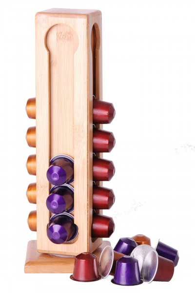 Porte capsules en bambou pour 28 capsules nespresso - Support capsules nespresso ...
