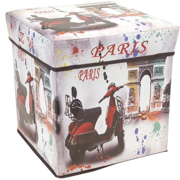 Tabouret pouf pliable coffre de rangement design vintage paris ebay - Coffre rangement avec assise ...