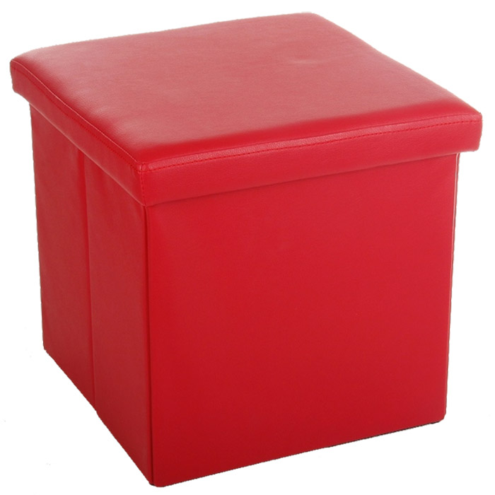 tabouret pouf avec coffre de rangement rouge. Black Bedroom Furniture Sets. Home Design Ideas