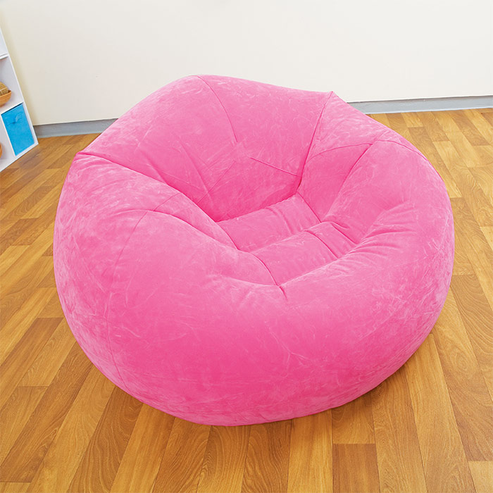 pouf gonflable fauteuil disponible en vert violet rose. Black Bedroom Furniture Sets. Home Design Ideas