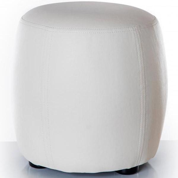 pouf design rond coloris blanc. Black Bedroom Furniture Sets. Home Design Ideas