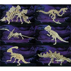 6 Puzzles Dinosaures 3D en Bois