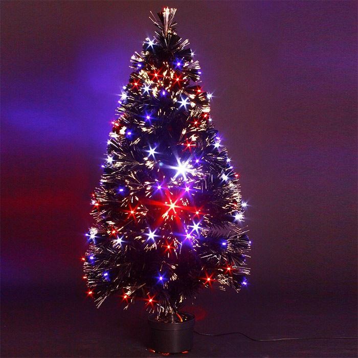 Sapin de noel artificiel lumineux 120 cm 136 led avec pot - Branche de sapin artificiel ...