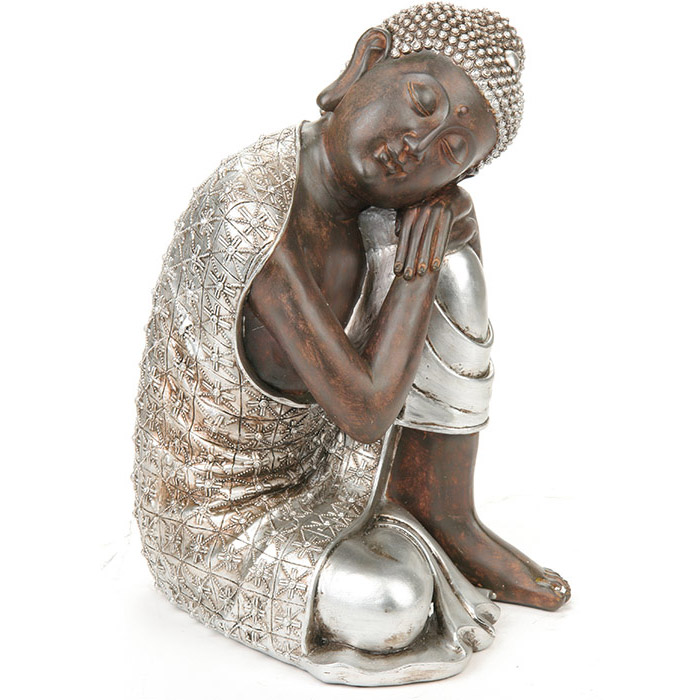 statue sculpture bouddha coloris argent. Black Bedroom Furniture Sets. Home Design Ideas