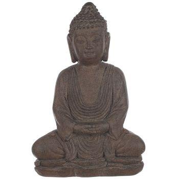 statue bouddha assis en r sine aspect pierre. Black Bedroom Furniture Sets. Home Design Ideas