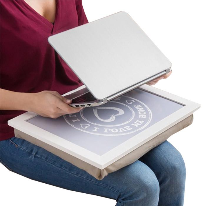 Support d 39 ordinateur portable coussin i love my home - Support ordinateur portable coussin ...