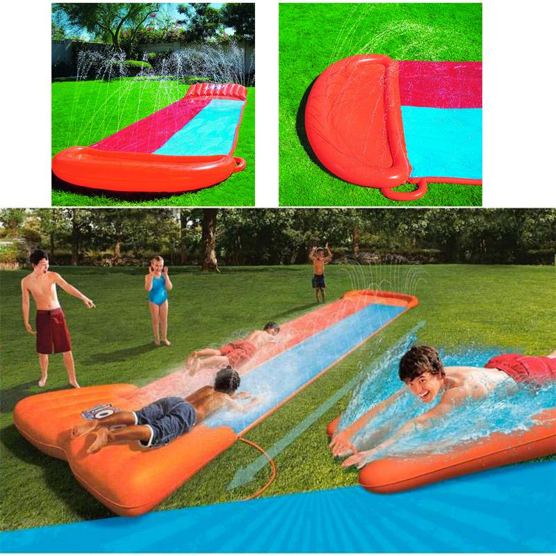 toboggan aquatique double tapis de glisse avec aire de lancement. Black Bedroom Furniture Sets. Home Design Ideas