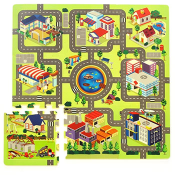 tapis puzzle enfant en mousse circuit de voiture en ville. Black Bedroom Furniture Sets. Home Design Ideas