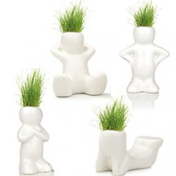 4 Ttes d'Herbe Bonhommes en Cramique