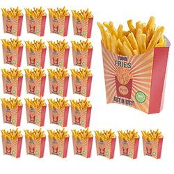 24 pochettes à frites en Carton - Coloris Rouge Orange