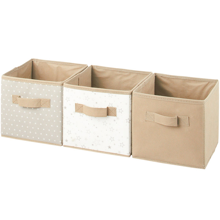3 boites de rangement cube tissu avec poignets ebay. Black Bedroom Furniture Sets. Home Design Ideas