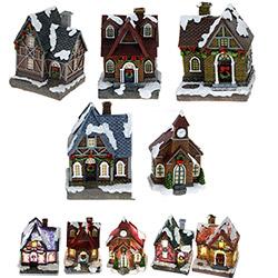 Grand Village de Noël Lumineux LED - Avec 5 Maisons Indépendantes