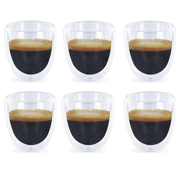 6 verres expresso double paroi tasses caf design ebay. Black Bedroom Furniture Sets. Home Design Ideas