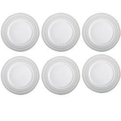 6 Assiettes Plates en Porcelaine - Gris
