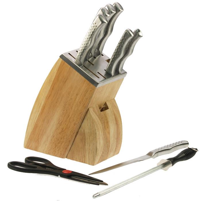 Lot Couteaux Cuisine bloc couteaux de cuisine inox : couteaux, ciseaux et aiguiseur