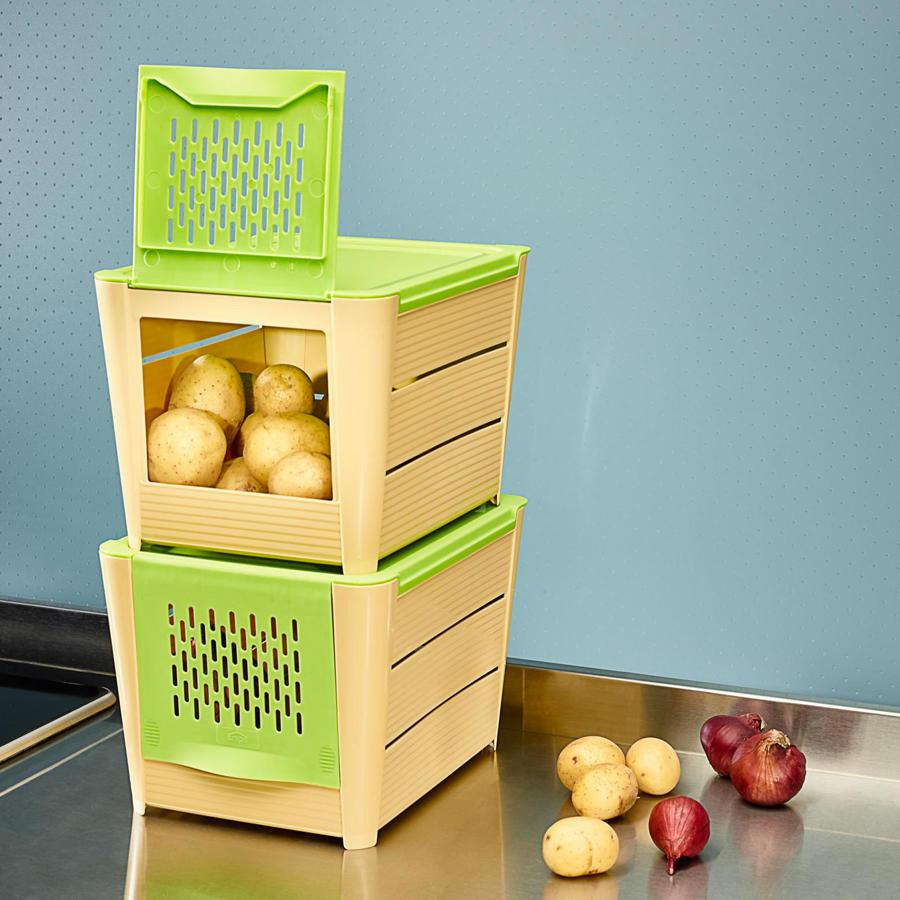 lot de 2 boite de conservation pour pommes de terre. Black Bedroom Furniture Sets. Home Design Ideas