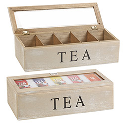 Boîte à Thé 5 Compartiments en Bois