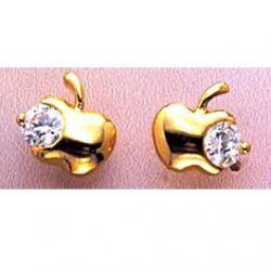 Boucles d'oreilles Apple Zirconia plaqué Or