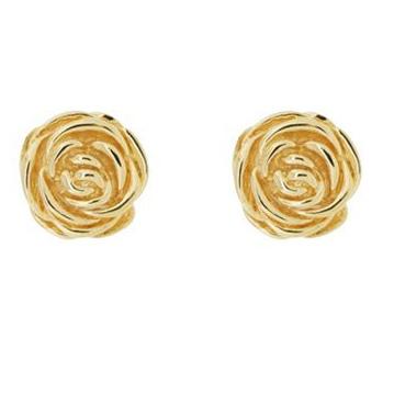 acheter de nouveaux Royaume-Uni disponibilité Quantité limitée Boucles d'oreilles Puce en forme de rose plaqué Or