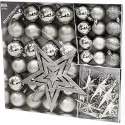 Coffret Décorations Boules de Noël - 45 Pièces - Argenté