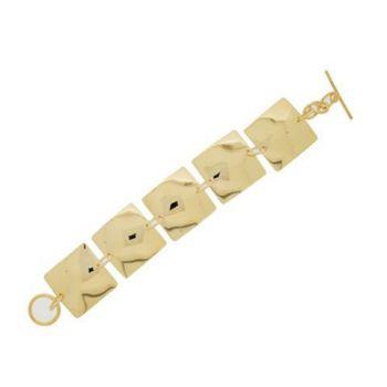 Bracelet plaqué or avec carrés bombés