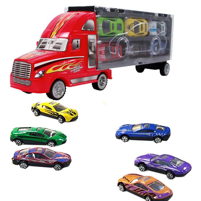 camion de transport avec 6 voitures de course enfants loisirs et jeux. Black Bedroom Furniture Sets. Home Design Ideas