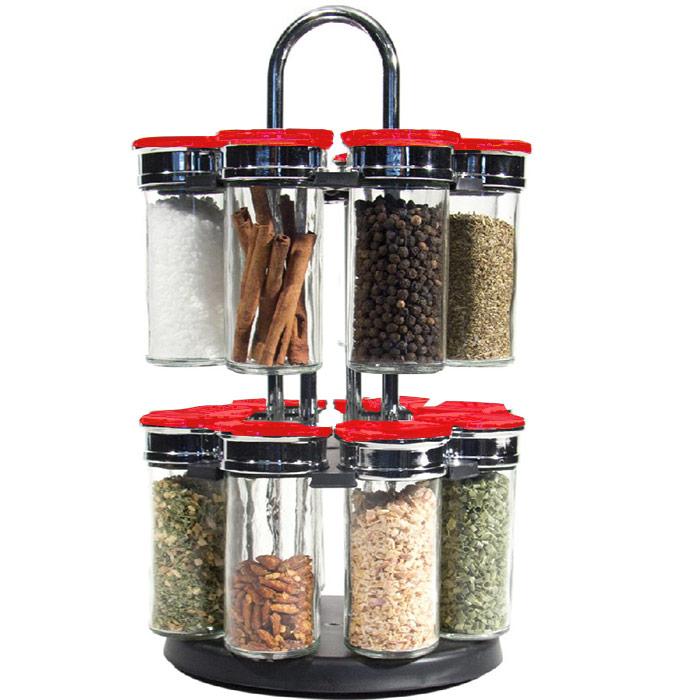 carrousel pices avec 16 pots en verres pour herbes aromatiques. Black Bedroom Furniture Sets. Home Design Ideas