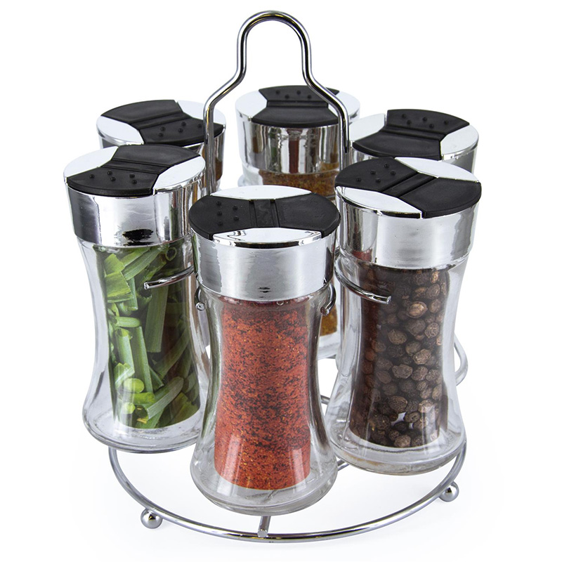 carrousel pices 6 pots en verre art de la table cuisine. Black Bedroom Furniture Sets. Home Design Ideas