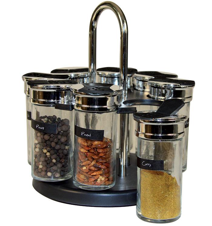 carrousel pices et herbes avec 8 pots en verre. Black Bedroom Furniture Sets. Home Design Ideas