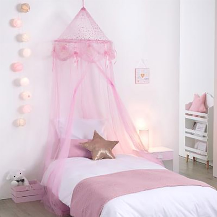 ciel de lit fille princesse rose avec toiles ebay. Black Bedroom Furniture Sets. Home Design Ideas