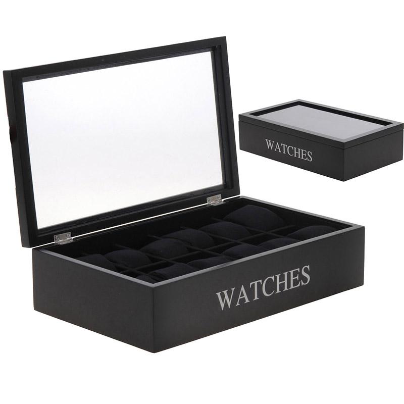 coffret de rangement 12 montres hommes et femmes. Black Bedroom Furniture Sets. Home Design Ideas