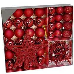 Coffret Décorations Boules de Noël - 45 Pièces - Rouge