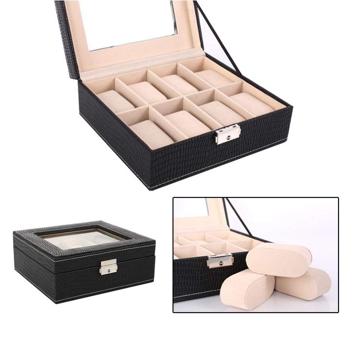 Coffret de rangement montres simili cuir, idéal pour 8 montres