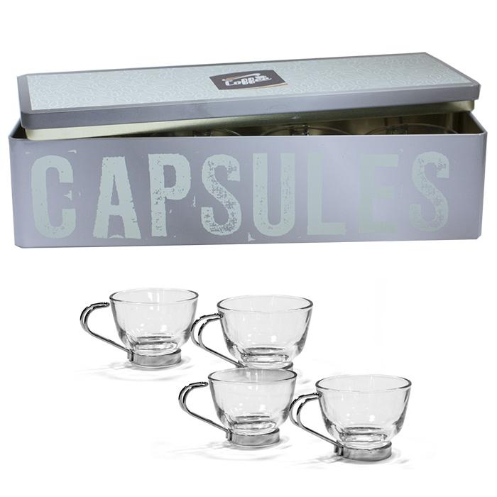 coffret en m tal boite avec 4 tasses caf verre et m tal. Black Bedroom Furniture Sets. Home Design Ideas